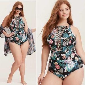 Torrid Tropical Lattice Neck One-Piece Swimsuit